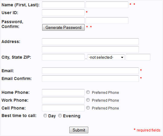 user creation form template - breeze website builder help